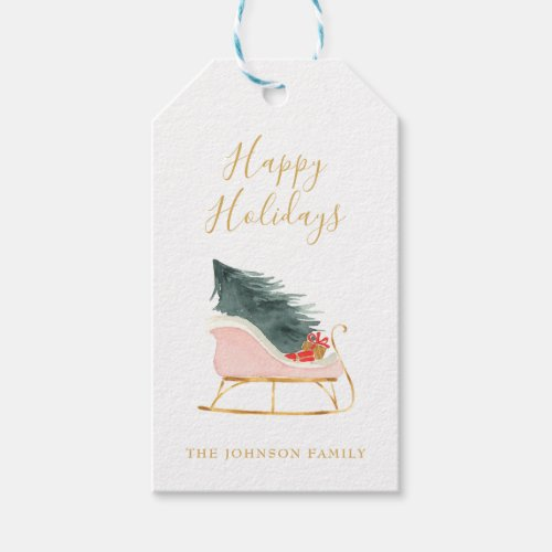 Christmas Shabby Pink Sleigh Gold Script Gift Tags