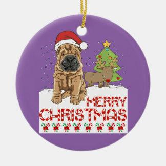 Christmas Shar Pei Ceramic Ornament