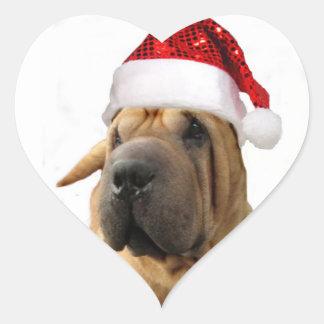 Christmas Shar Pei dog Heart Sticker