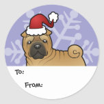 Christmas Shar Pei Gift Tags Classic Round Sticker