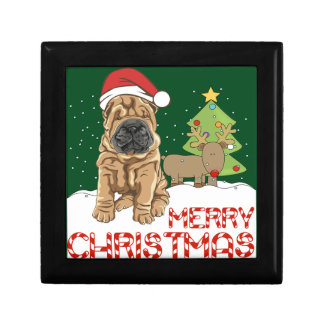Christmas Shar Pei Jewelry Box