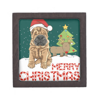 Christmas Shar Pei Keepsake Box