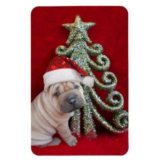 Christmas shar pei puppy magnet