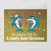 Christmas Sharks Gold Personalized Typography Holiday Postcard