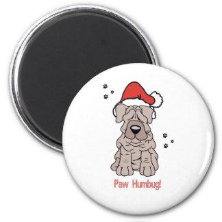 Christmas Sharpei Dog 2 Inch Round Magnet