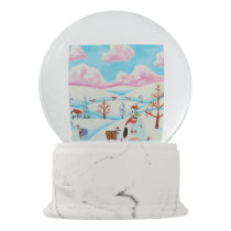 Christmas sheep and cow winter landscape snow globe