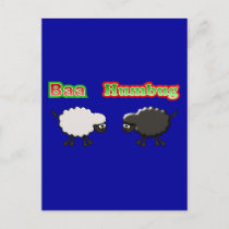 Christmas Sheep Baa Humbug Design Holiday Postcard