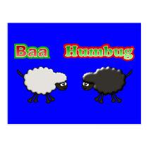 Christmas Sheep Baa Humbug Design Postcard