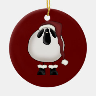 Christmas Sheep Double-Sided Ceramic Round Christmas Ornament