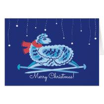 Christmas sheep knitting needles scarf card