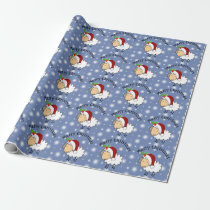 Christmas Sheep Wearing A Santa Hat Wrapping Paper