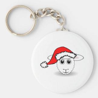 Christmas Sheep Wearing Santa Hat Keychain