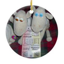 CHRISTMAS SHEEP WITH LOTTERY TICKET CERAMIC ORNAMENT