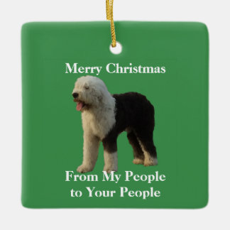 Christmas Sheepdog with Holiday Message Ceramic Ornament