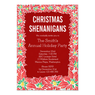 Christmas Shenanigans Party Poinsettia Invitation