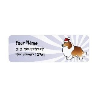 Christmas Shetland Sheepdog / Collie Label