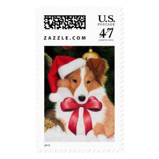 Christmas Shetland Sheepdog Stamp