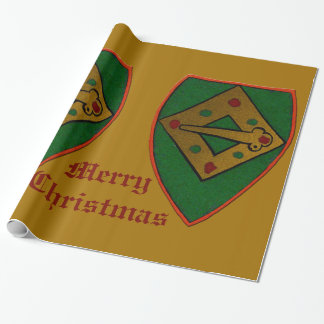 Christmas Shield Gold Large Wrapping Paper