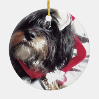 Christmas Shih Poo Double-Sided Ceramic Round Christmas Ornament