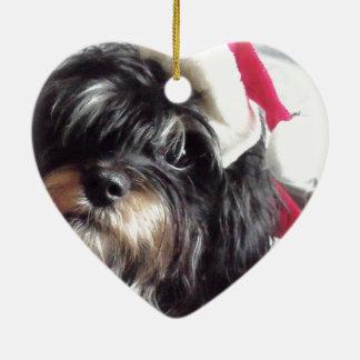 Christmas Shih Poo Double-Sided Heart Ceramic Christmas Ornament