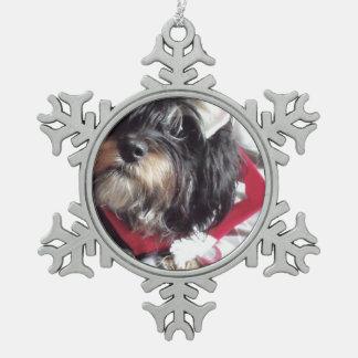 Christmas Shih Poo Snowflake Pewter Christmas Ornament