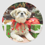 Christmas - Shih Tzu - Bailey Stickers