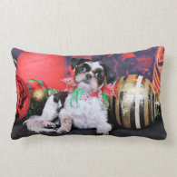 Christmas - Shih Tzu - Chin Ching Throw Pillows