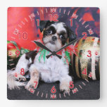 Christmas - Shih Tzu - Chin Ching Wall Clock