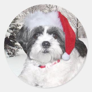Christmas Shih Tzu Classic Round Sticker
