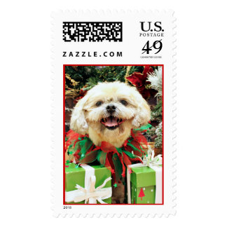Christmas - Shih Tzu - Cubby Postage Stamp
