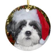 Christmas Shih Tzu Dog Double-Sided Ceramic Round Christmas Ornament