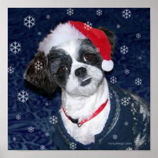 Christmas Shih Tzu Dog Poster