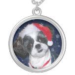 Christmas Shih Tzu Dog Round Pendant Necklace