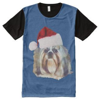 Christmas, Shih Tzu Dog, Santa Hat All-Over-Print Shirt