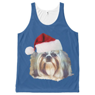 Christmas, Shih Tzu Dog, Santa Hat All-Over-Print Tank Top