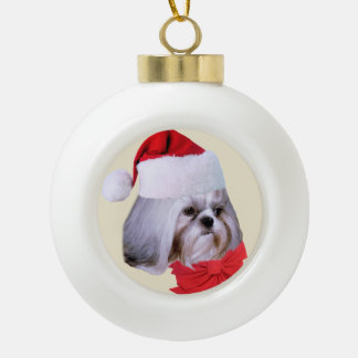 Christmas, Shih Tzu Dog, Santa Hat Ceramic Ball Christmas Ornament