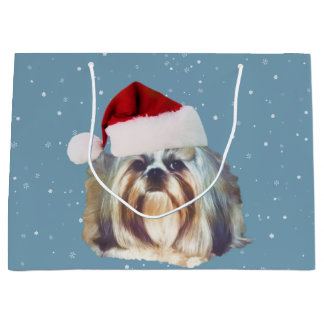 Christmas, Shih Tzu Dog, Santa Hat Large Gift Bag