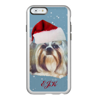 Christmas, Shih Tzu Dog, Santa Hat, Monogram Incipio Feather Shine iPhone 6 Case