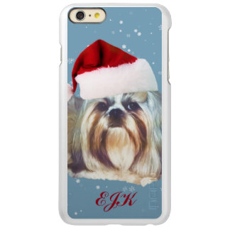 Christmas, Shih Tzu Dog, Santa Hat, Monogram Incipio Feather Shine iPhone 6 Plus Case