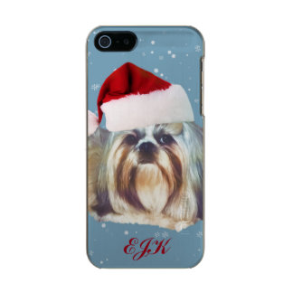 Christmas, Shih Tzu Dog, Santa Hat, Monogram Metallic Phone Case For iPhone SE/5/5s