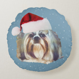 Christmas, Shih Tzu Dog, Santa Hat Round Pillow