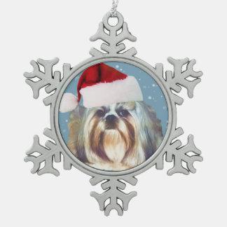 Christmas, Shih Tzu Dog, Santa Hat Snowflake Pewter Christmas Ornament