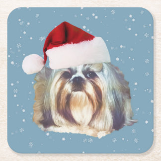 Christmas, Shih Tzu Dog, Santa Hat Square Paper Coaster