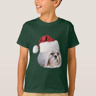Christmas, Shih Tzu Dog, Santa Hat T-Shirt