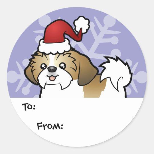 Christmas Shih Tzu Gift Tags (puppy cut