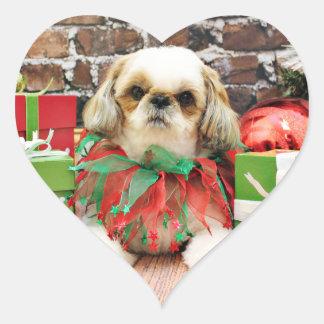 Christmas - Shih Tzu - Lily Heart Sticker