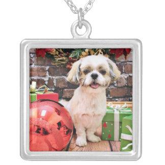 Christmas - Shih Tzu - Marley Square Pendant Necklace