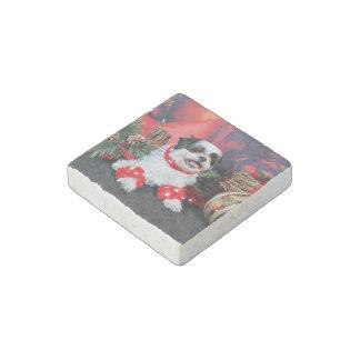Christmas - Shih Tzu - Mishka Stone Magnet