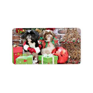 Christmas - Shih Tzu - Pixie and Willie Custom Address Label
