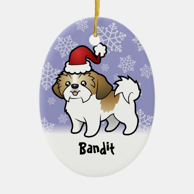 Christmas Shih Tzu Puppy Cut Add Pets Name Ceramic Ornament Zazzle Com
